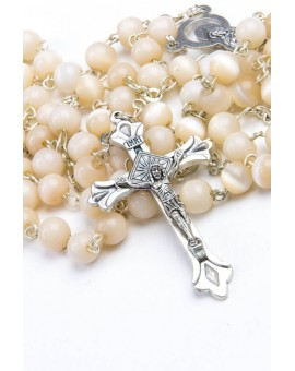 Pearl White Cat's Eye Rosary