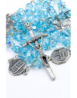 Four Basilicas Sky Blue Rosary small