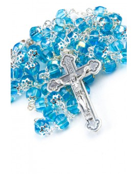 Sky Blue Crystal Metal Rosary