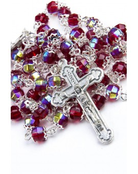 Red Crystal Metal Rosary