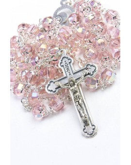 Pink Glass Metal Rosary