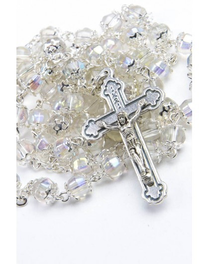 Clear Crystal metal Rosary