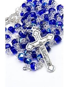 Blue Crystal Metal Rosary