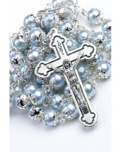 Glass Pearl Azure Gray Rosary