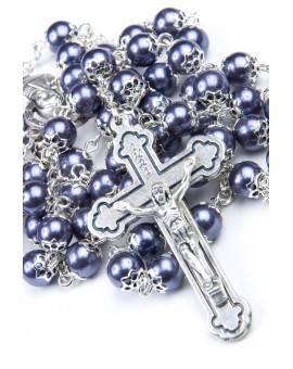Glass Pearl Dark Gray Rosary