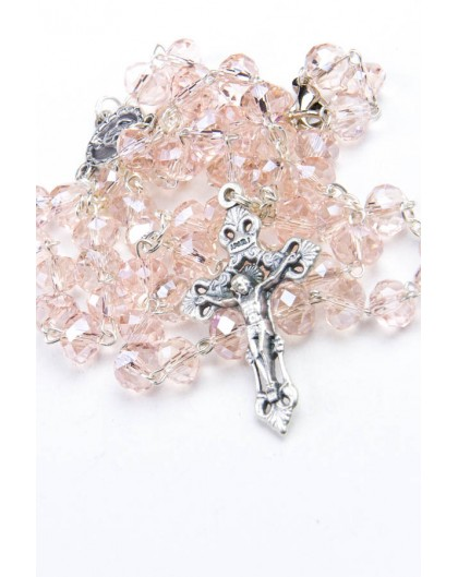 Pink Glass Faceted Glass Rosary 3mm beads