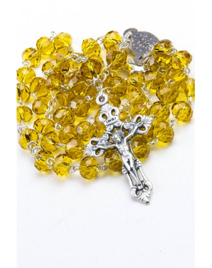 Yellow Faceted Glass Rosary