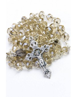 Smoke Faceted Glass Rosary