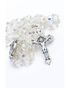 Pope Francis Clear Glass Rosary
