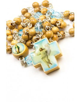 Wood and sky blue Glass Rosary