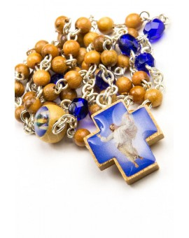 Wood and blue Glass Rosary