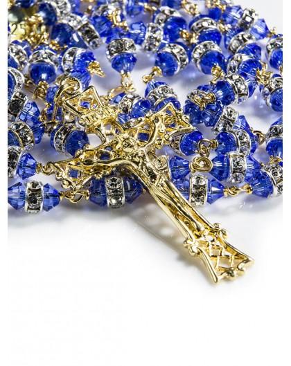 Blue White Swarovski Crystal gold plated