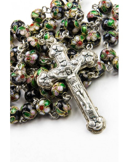 Black Cloisonne Rosary