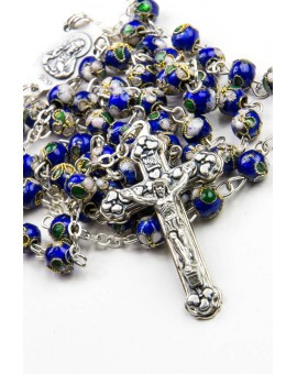 Deep Blue Cloisonne small Rosary