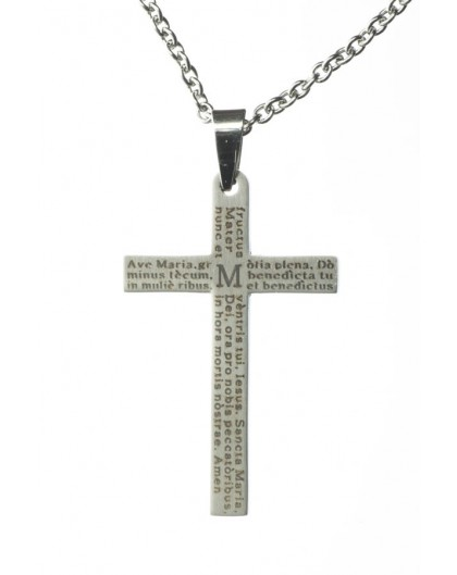 Ave Maria Steel Crucifix