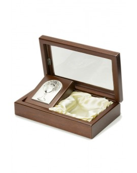 Rosary Box with Holy Communion Bilaminate Silver Plaque 2328