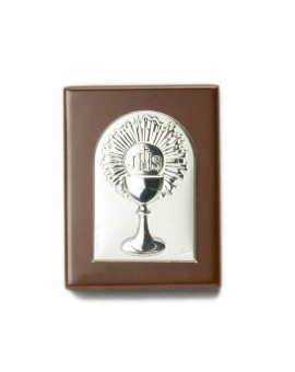 Rosary Box with Holy Communion Bilaminate Silver Plaque 0865