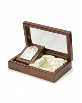 Rosary Box with Virgin Mary Bilaminate Silver Plaque 1884