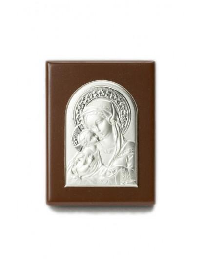 Rosary Box with Virgin Mary Bilaminate Silver Plaque 0867