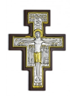 Crucifix Bilaminate Sterling Silver and Gold 0823