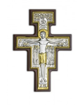 Crucifix Bilaminate Sterling Silver and Gold 1484