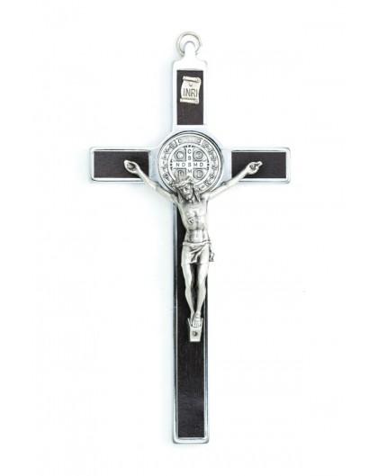 St. Benedict Crucifix dark wood and metal