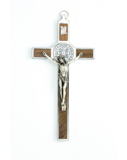 St. Benedict Crucifix light wood and metal