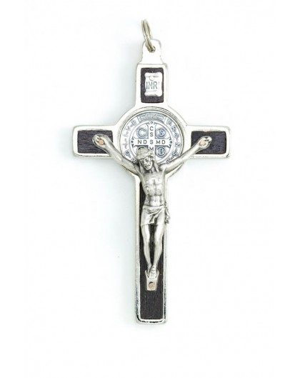 St. Benedict Crucifix dark wood and metal