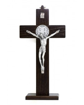 St. Benedict Crucifix dark wood with base - Prestige series
