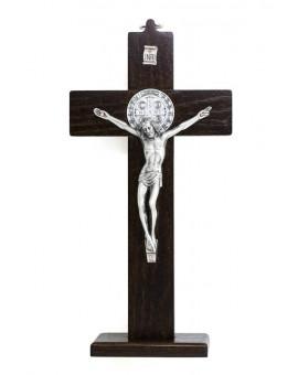 St. Benedict Crucifix dark wood with base - Prestige series