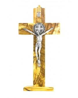 St. Benedict Crucifix Olive wood with base - Prestige series