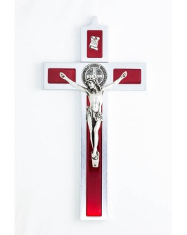 St. Benedict Crucifix aluminium and red enamel