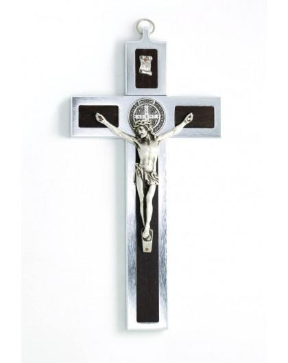 St. Benedict Crucifix aluminium and walnut wood