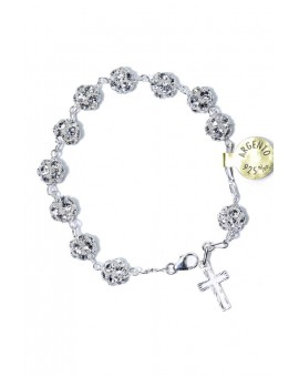All silver strass Rosary Bracelet