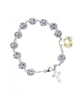 All silver strass Rosary Bracelet