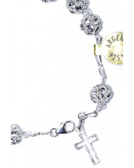 All silver color strass Rosary Bracelet