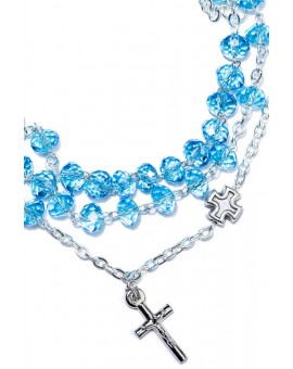 Sky Blue Crystal Rosary long Bracelet