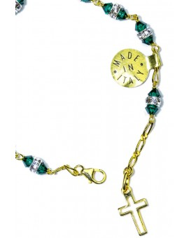 Deep green strass gold Rosary Bracelet