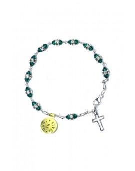 Deep green strass Silver Rosary Bracelet