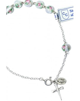 White Murano Beads Rosary bracelet