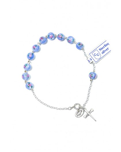 Sky Blue Murano glass bead Rosary Bracelet
