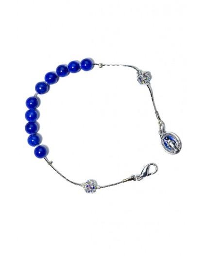 Deep Blue Giada Rosary Bracelet