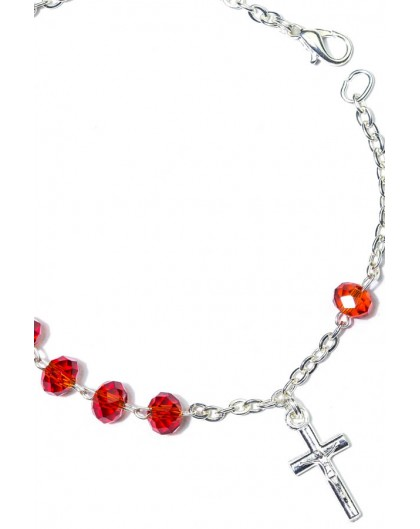 Red Crystal Rosary Bracelet