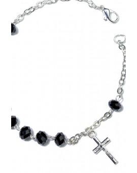 Black Crystal Rosary Bracelet