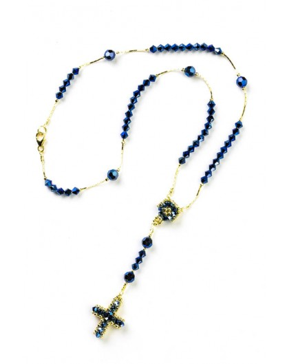 Blue Swarovski Gold Plated Silver Necklace