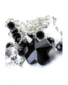 Swarovsky Black and Clear Crystal Necklace