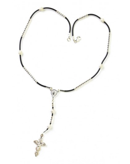 Sterling SIlver Rosary Necklace - Rubber rope