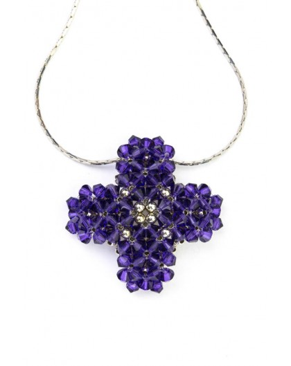 Swarovski Violet and gold Cross necklace