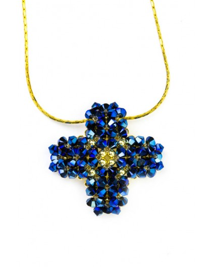 Swarovski Blue and gold Cross necklace