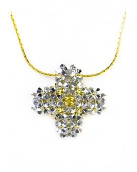Swarovski Gray and gold Cross necklace